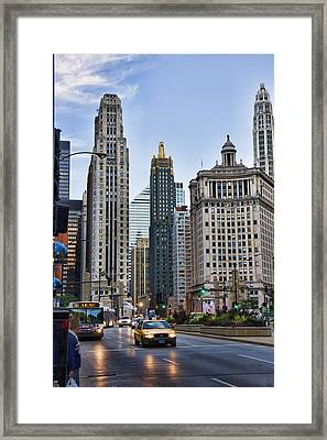 Downtown Chicago Traffic Framed Print by Paul Bartoszek