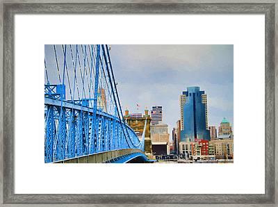 Downtown Cincinnati And John Roebling Bridge Framed Print by Dan Sproul