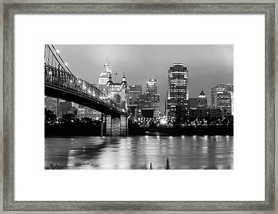 Framed Print featuring the photograph Downtown Cincinnati City Skyline - Black And White by Gregory Ballos