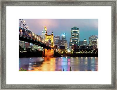 Framed Print featuring the photograph Downtown Cincinnati City Skyline - Color by Gregory Ballos