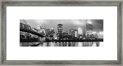 Downtown Cincinnati Skyline Panoramic At Night - Black And White Framed Print by Gregory Ballos