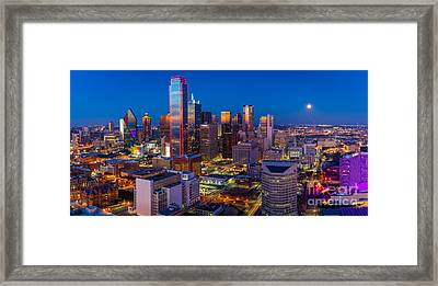 Downtown Dallas Panorama Framed Print by Inge Johnsson