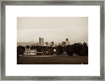 Downtown Denver Colorado City Skyline In Sepia Framed Print by Gregory Ballos