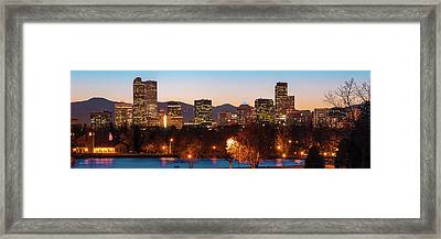 Downtown Denver Skyline Panorama - Colorado Framed Print