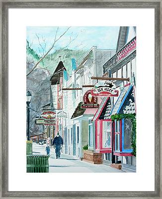 Framed Print featuring the painting Downtown Estes Park Winter by Tom Riggs