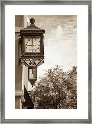 Downtown Fayetteville Arkansas Clock In Sepia Framed Print