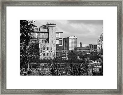 Downtown Fayetteville Arkansas Skyline - Dickson Street - Black And White Edition. Framed Print