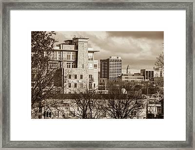 Downtown Fayetteville Arkansas Skyline - Dickson Street - Sepia Edition. Framed Print by Gregory Ballos
