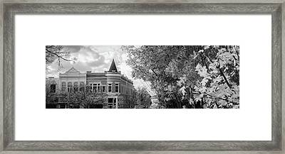 Downtown Fayetteville Arkansas Skyline Panorama - Black And White Framed Print