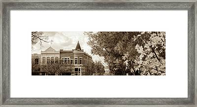Downtown Fayetteville Arkansas Skyline Panorama - Sepia Framed Print