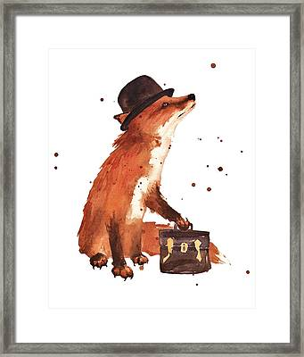 Downtown Fox Framed Print by Alison Fennell