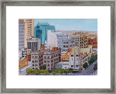 Downtown From Above Framed Print by Candy Mayer