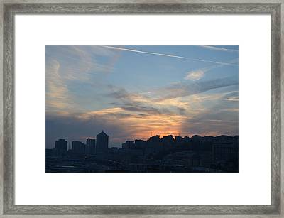 Downtown Genoa At Sunset Framed Print by Dawn Crichton
