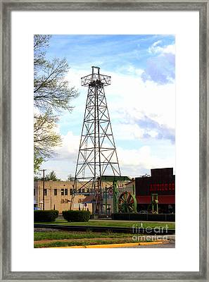 Downtown Gladewater Oil Derrick Framed Print by Kathy  White