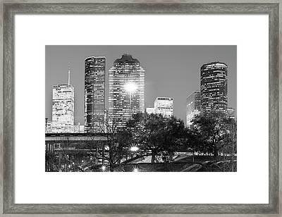Downtown Houston City Skyline - Black And White Framed Print by Gregory Ballos