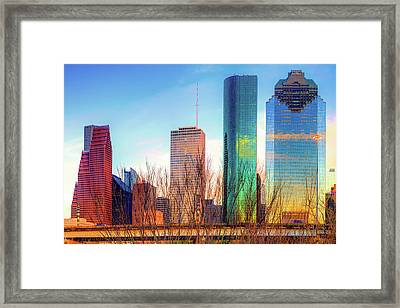 Downtown Houston Texas Skyline At Sunset Framed Print by Gregory Ballos