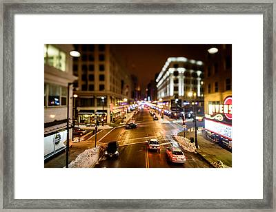 Downtown In The Itty-bitty City Framed Print