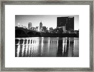 Downtown Indianapolis City Skyline - Black And White Framed Print