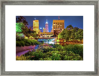 Downtown Indianapolis Skyline At Night Framed Print by Gregory Ballos