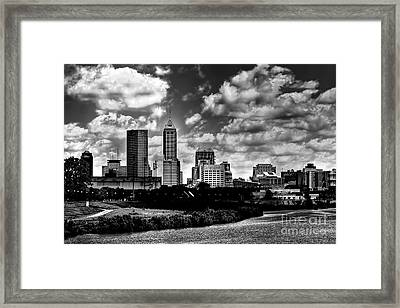 Downtown Indianapolis Skyline Black And White Framed Print by David Haskett