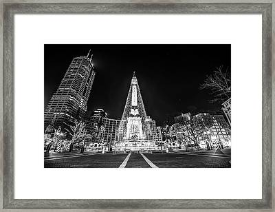 Downtown Indy Circle Of Lights - Monument Circle - Black And White - Indianapolis Framed Print by Gregory Ballos