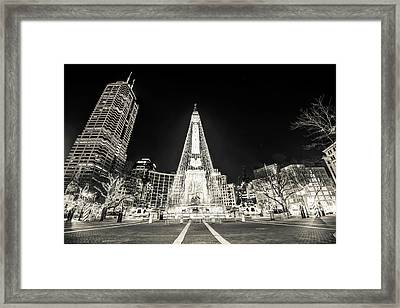 Downtown Indy Circle Of Lights - Monument Circle In Bw - Indianapolis Framed Print by Gregory Ballos