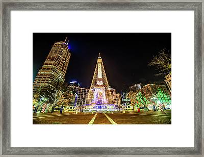 Downtown Indy Circle Of Lights - Monument Circle - Indianapolis Framed Print by Gregory Ballos