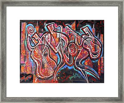 Downtown Jazz Blues Framed Print by Leon Zernitsky