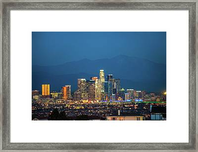 Downtown Los Angeles Skyline At Night Framed Print
