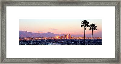 Downtown Los Angeles, Sunset, California Framed Print