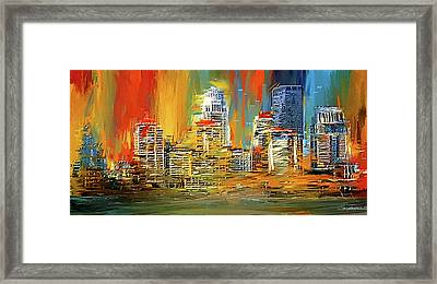 Downtown Louisville - Colorful Abstract Art Framed Print by Lourry Legarde