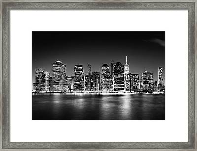 Framed Print featuring the photograph Downtown Manhattan Bw by Az Jackson