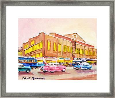 Downtown Montreal Hockey Forum Vintage Montreal Art  Framed Print by Carole Spandau
