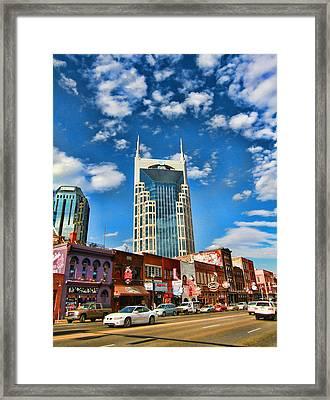 Downtown Nashville Blue Sky Framed Print by Dan Sproul