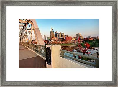 Downtown Nashville Skyline From The Shelby Street Bridge Framed Print
