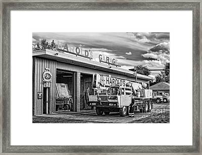 Downtown Northampton - Harold's Garage Framed Print by HD Connelly