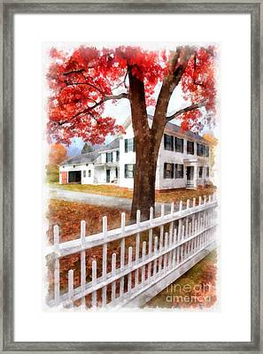 Downtown Norwich Vermont Picket Fence Framed Print by Edward Fielding