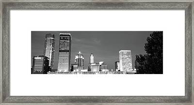 Downtown Oklahoma City Skyline Panorama - Black And White Framed Print by Gregory Ballos