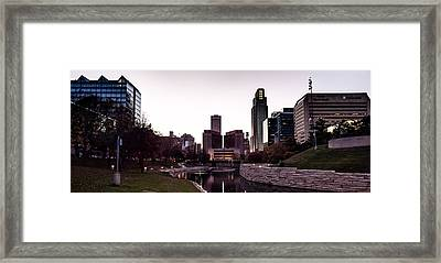 Downtown Omaha At Sunset Framed Print