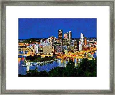 Framed Print featuring the digital art Downtown Pittsburgh At Twilight by Digital Photographic Arts