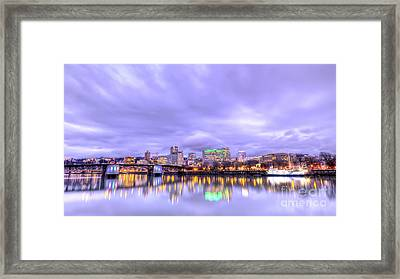 Downtown Portland Oregon Waterfront Sunset Clouds Framed Print