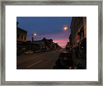 Framed Print featuring the photograph Downtown Racine At Dusk by Mark Czerniec