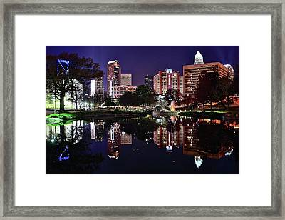 Downtown Reflection Of Charlotte Framed Print