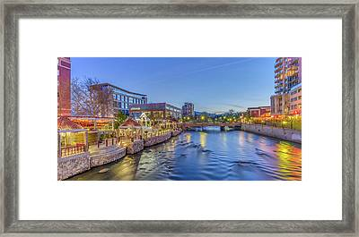 Framed Print featuring the photograph Downtown Reno Along The Truckee River by Scott McGuire