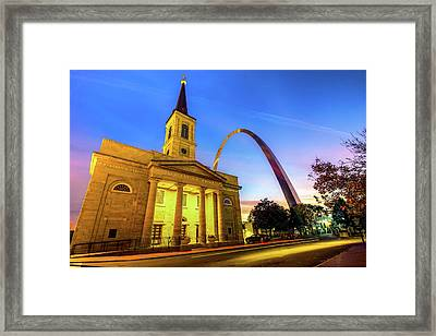 Downtown Saint Louis Arch And The Old Cathedral - Basilica Of St. Louis Framed Print
