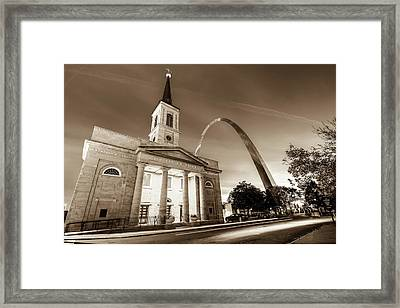 Downtown Saint Louis Arch And The Old Cathedral - Basilica Of St. Louis In Sepia Framed Print