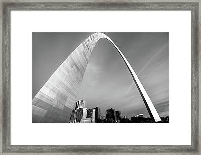 Downtown Saint Louis Skyline Under The Arch - Black And White Framed Print