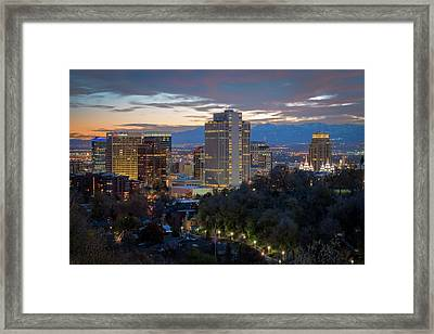 Downtown Salt Lake City At Dusk Framed Print