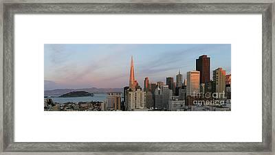 Downtown San Francisco And Bay Bridge Framed Print by Matt Tilghman