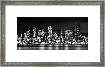 Downtown Seattle At Night Black And White Framed Print by TL  Mair
